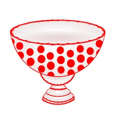 Bowl fruit with red dots ceramic tableware vector