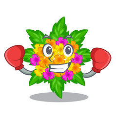 Boxing lantana flowers in the mascot pots vector