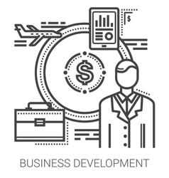 Business development line icons vector