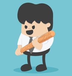 Businessman holding a baseball bat vector image