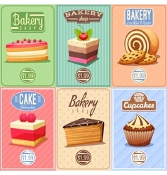 Cakes and Sweets Mini Posters Collection vector
