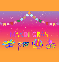 carnival or mardi gras banner with cartoon masks vector image