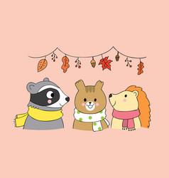 Cartoon cute animals autumn vector
