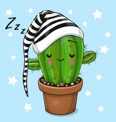 Cartoon sleeping cactus on a blue background vector