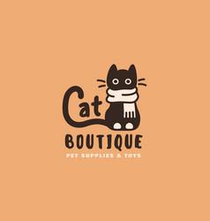 Cat boutique logo vector