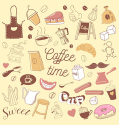 Coffee time hand drawn doodle coffe beans vector