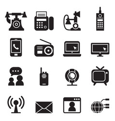 communication technology icons set vector image