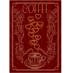 cup for coffee with ornament and inscription vector image