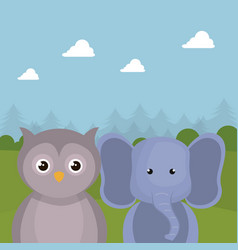 Cute elephant and owl in the field landscape vector
