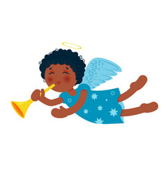 Cute little christmas angel with trumpet african vector
