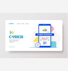 Cyber monday sale with technology interface design vector