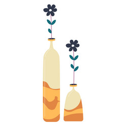 Decorative vase with flower floral decor vector