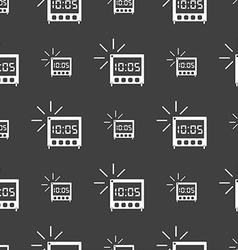 digital Alarm Clock icon sign Seamless pattern on vector image