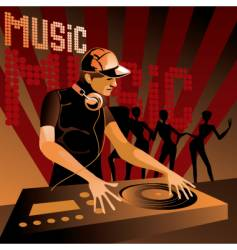 disc jockey vector image