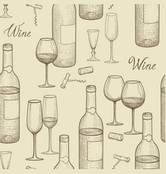 Drink wine seamless sketch pattern wine card vector