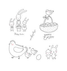 easter bunnies and chickens eggs and paint cute vector image