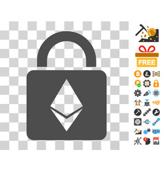 Ethereum lock icon with bonus vector