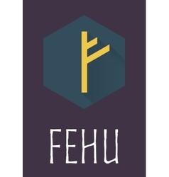 Fehu rune of Elder Futhark in trend flat style vector image