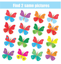 Find the same pictures children educational game vector