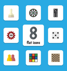 flat icon play set of poker chess table people vector image