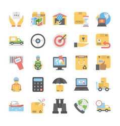 Flat icons collection of logistic delivery vector
