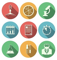 Flat icons for microbiology vector