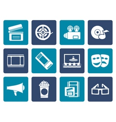 Flat Movie theatre and cinema icons vector