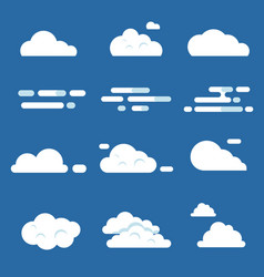flat of various clouds vector image