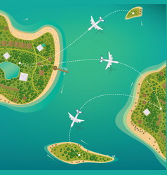 flights between the tropical islands with beaches vector image