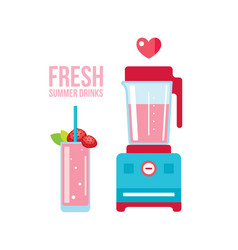 fresh strawberry smoothie and blender summer vector image