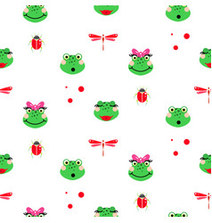 frogs cartoon green seamless pattern vector image