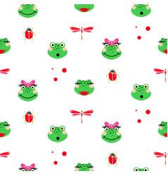 Frogs cartoon green seamless pattern vector
