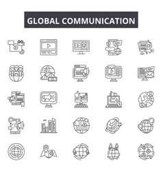 global communication line icons signs set vector image
