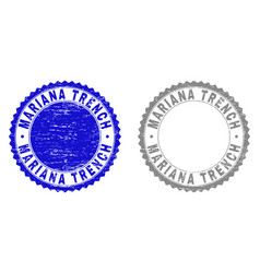 Grunge mariana trench scratched stamp seals vector