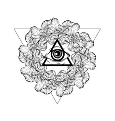 Hand drawn all seeing eye isolated vector