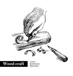 hand drawn sketch hands craftsman wooden vector image