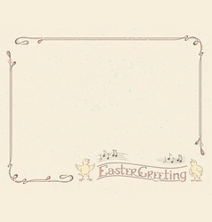 happy easter greeting typography vintage frame vector image