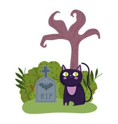 happy halloween black cat tombstone dry tree vector image