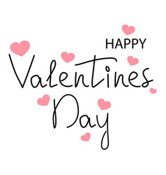 happy valentine s day text with hearts vector image