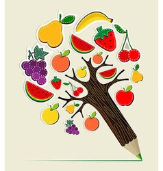 Healthy food concept pencil tree vector