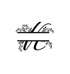 Initial k decorative plant monogram split letter vector