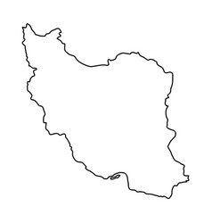 Iran map of black contour curves of vector