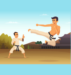karate fighters cartoon background vector image