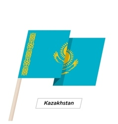 Kazakhstan Ribbon Waving Flag Isolated on White vector