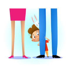 Kid hiding behind the parents leg vector