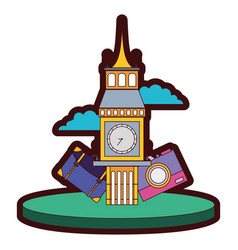 Line color big ben of london with backpack and vector