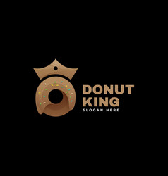 Logo donut king gradient colorful style vector