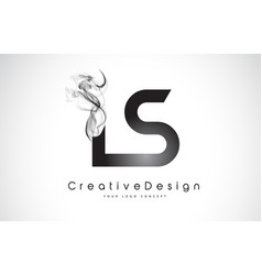 Ls letter logo design with black smoke vector