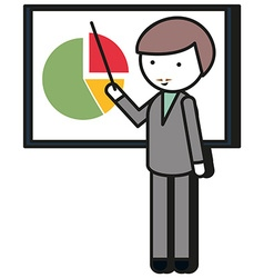 Man pointing at the pie chart vector