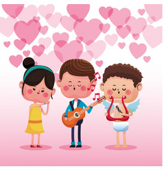 man singing to woman cute cartoons vector image
